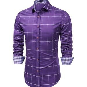 01432 Men's Fashion Long Sleeve Plaid Button Down